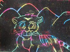 Esgrafiado - Dibujo bonito de tigre