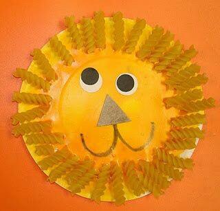 Manualidades con pasta - Sol con espirales