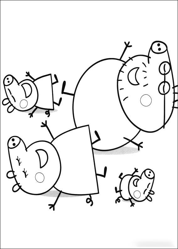 Dibujo de la familia Pig - Peppa Pig - George - Mamá Pig y Papá Pig