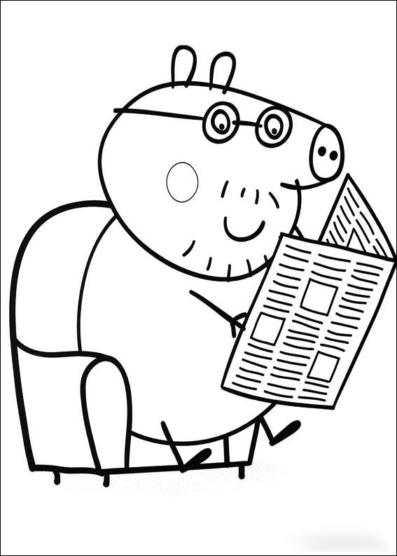 Dibujo para colorear de Papá Pig - Aprende Feliz