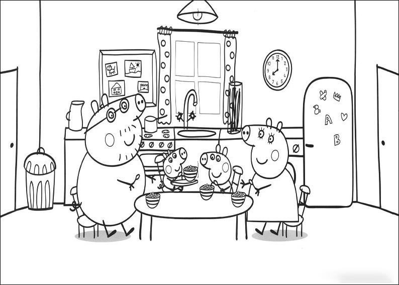 La familia Pig al completo desayunando - Pinta y colorea