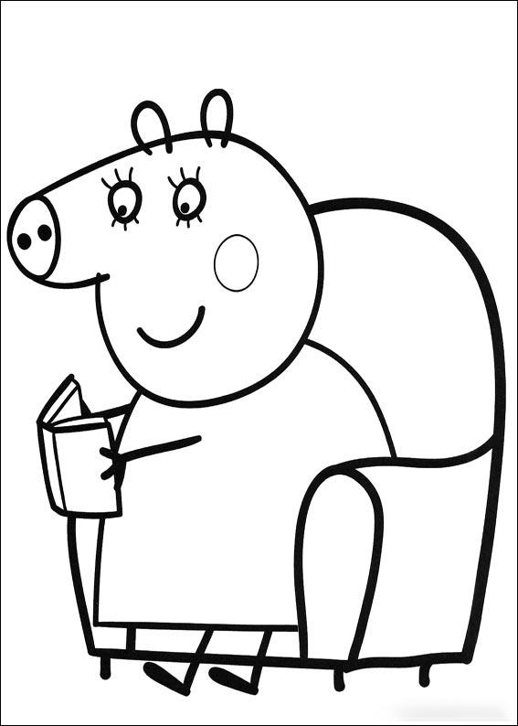 Mamá Pig leyendo un libro - Aprende Feliz