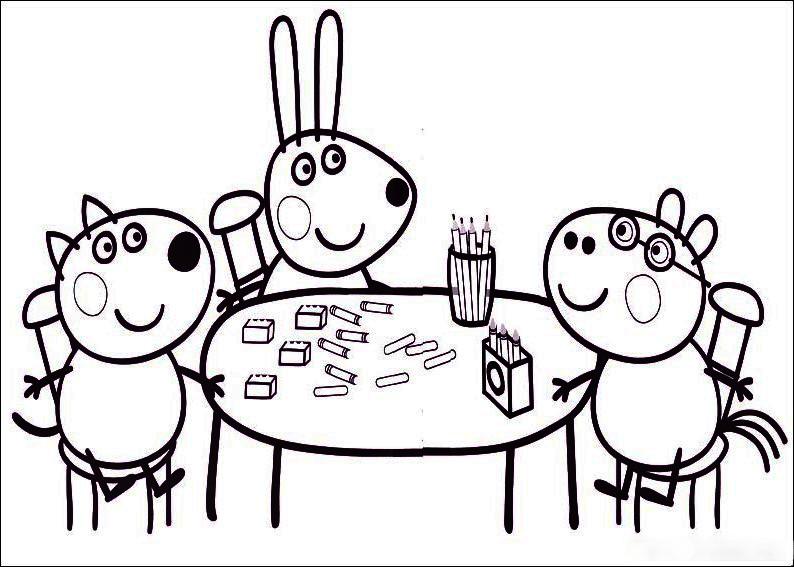 Peppa Pig merendando con sus amigas