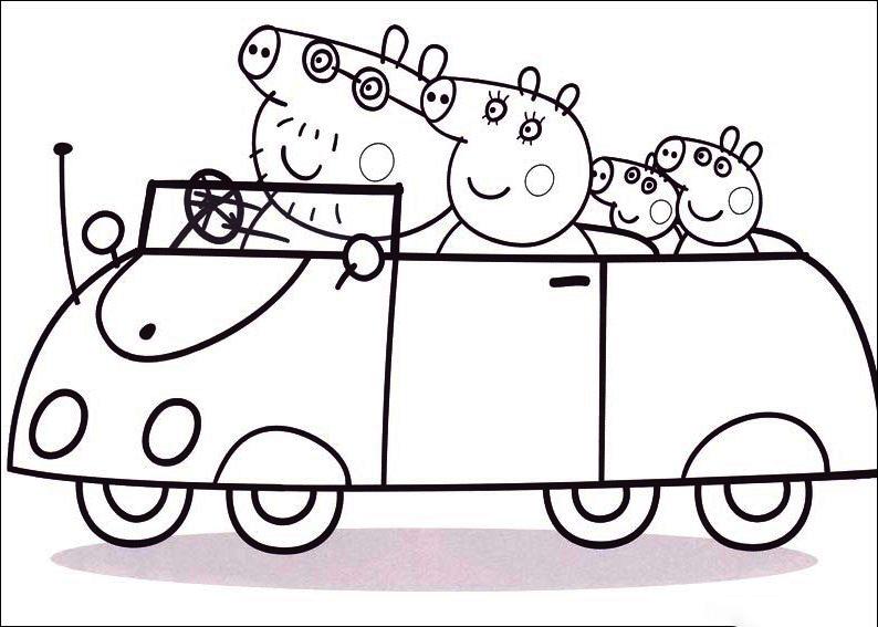 Peppa Pig viaja en coche con toda la familia Pig
