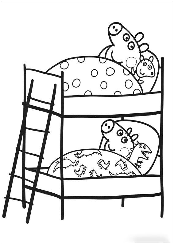 Peppa y George durmiendo en la litera