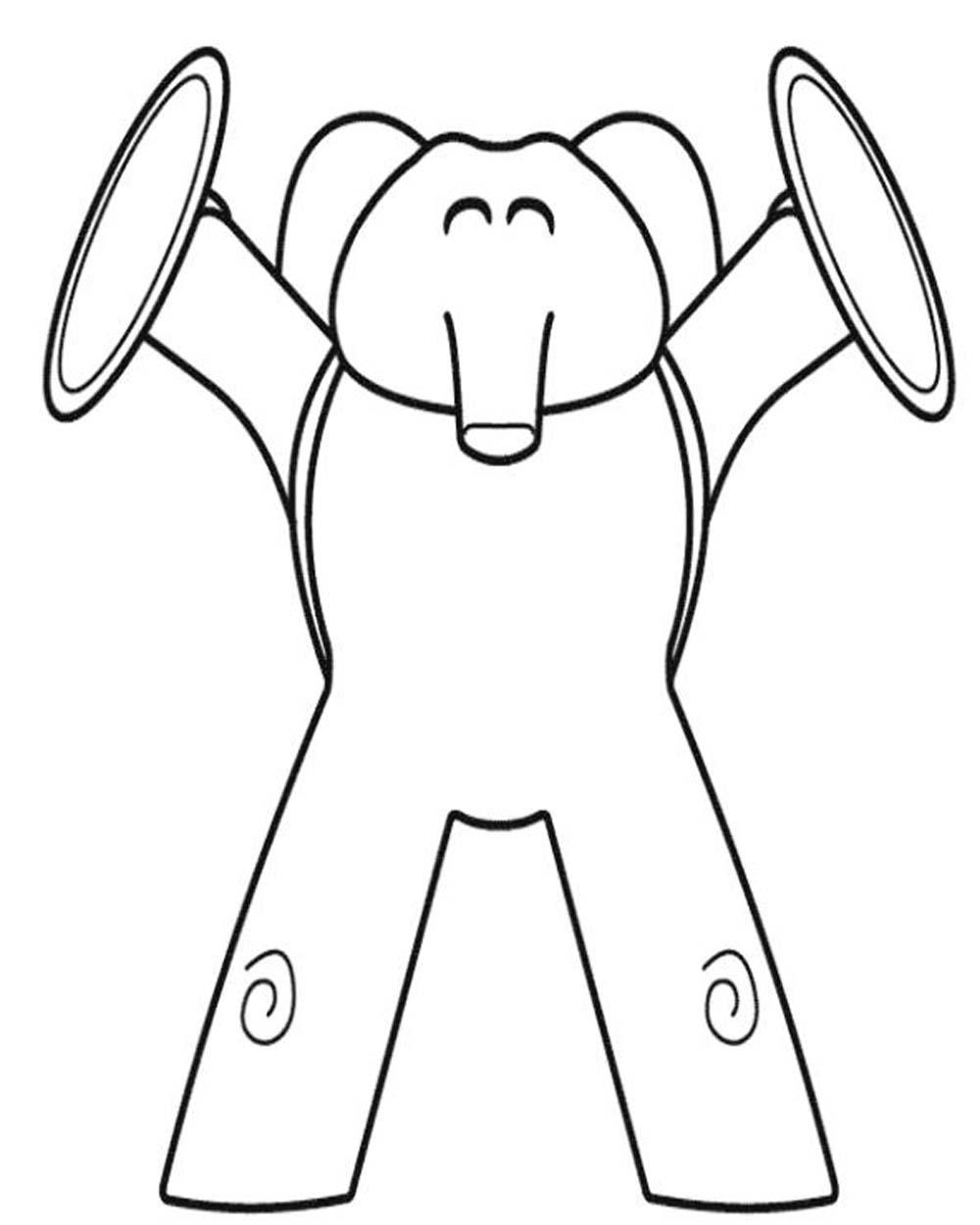 Dibujo de Eli-elefante-tocando-musica-con-platillos- para pintar y ...