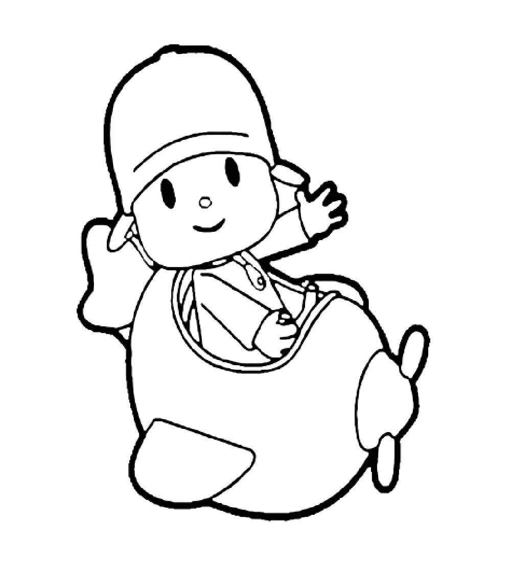 Dibujo de Pocoyo en avión para imprimir y colorear