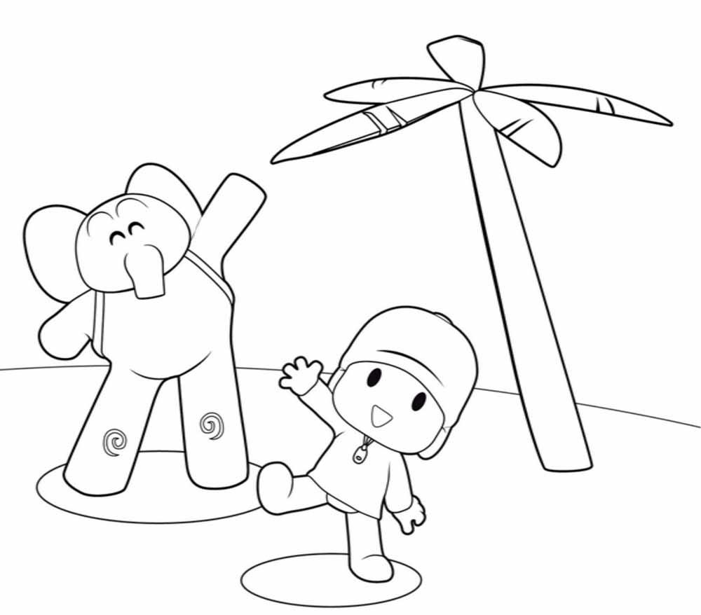 Pocoyo y Eli en la playa para dibujar , colorear , imprimir , decorar tu habitación , adornar