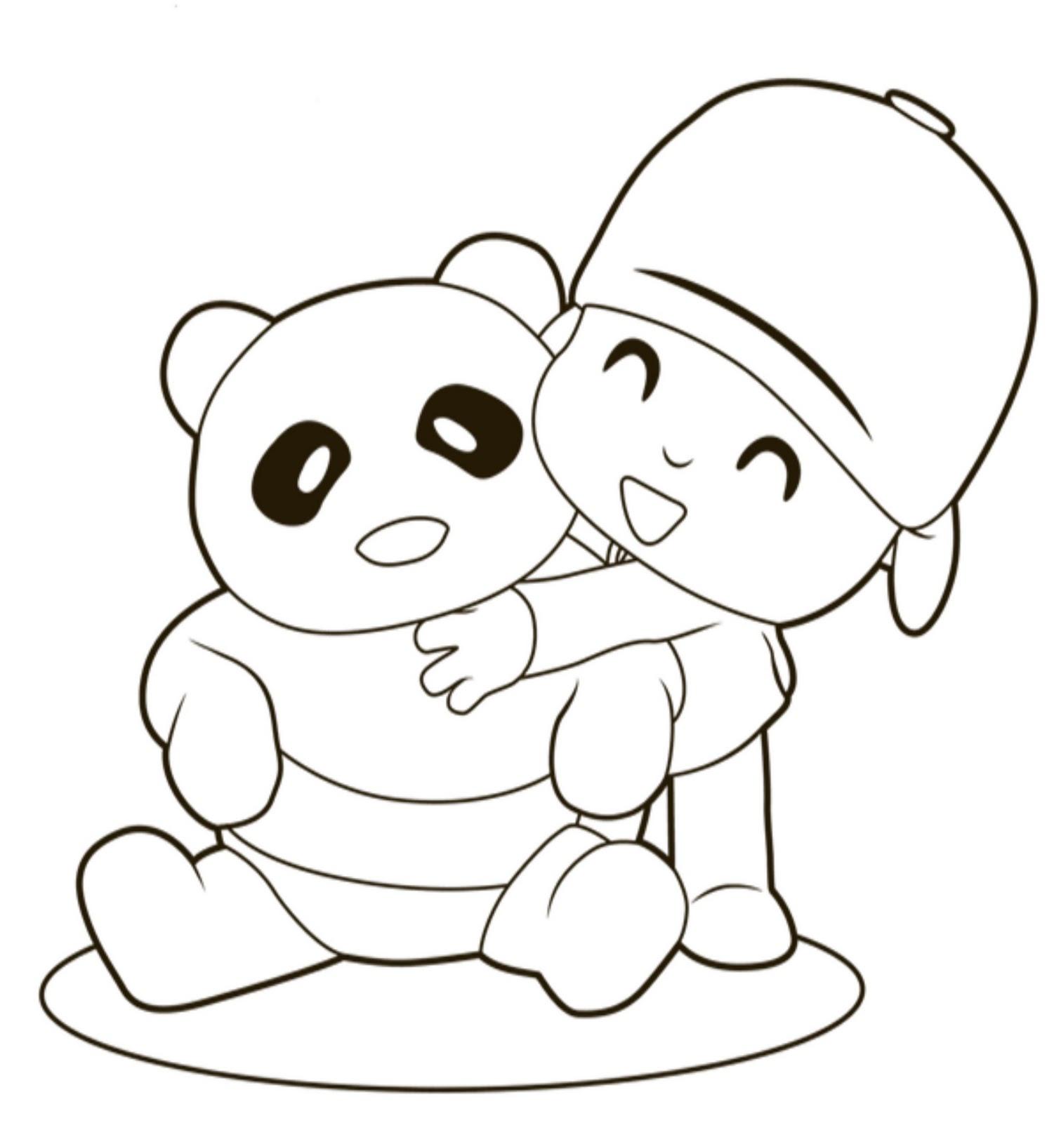 Pocoyo abrazando a su oso de peluche - Plantilla para dibujar , imprimir y pintar