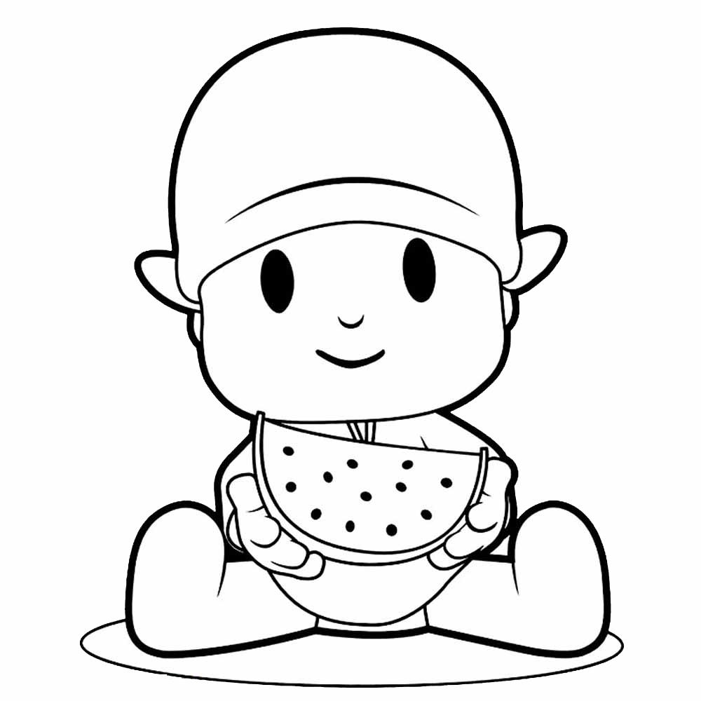 Pocoyo comiendo sandía frequita - Dibujo para imprimir , pintar , colorear y decorar