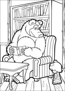 Colorea este dibujo de Masha triste porque Oso está leyendo y no quiere jugar y ya verás como se pone contenta