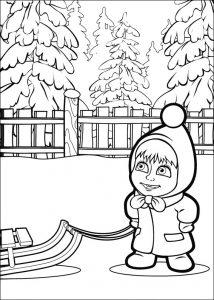 Dibujo de Masha en la nieve para pintar y colorear