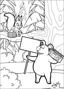 Imprime y pinta a conejita y cerdito que son protagonistas de los dibujos animados Masha y el Oso
