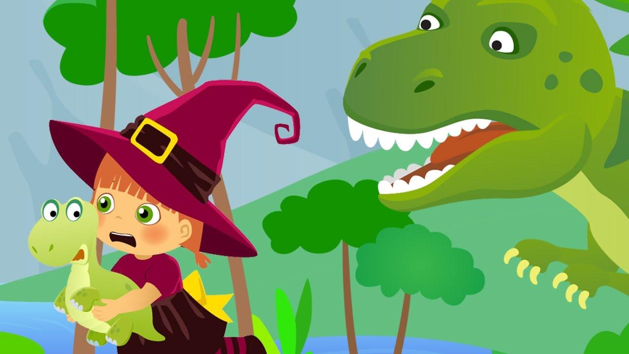 La bruja Tatty salvando al pequeño dinosaurio