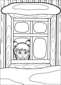 Los días de nieve hay que aprovecharlos para pintar , colorear , imprimir y decorar los dibujos de Masha y el Oso