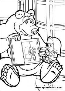Oso le enseña a Masha el cuento de la bruja - Imprime y colorea el dibujo