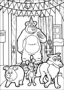 Oso y los demás animales de Masha y el Oso para colorear , pintar e imprimir