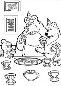 Pinta y Colorea a Masha y el Oso en la fiesta de cumpleaños y luego imprime y decora tu habitación