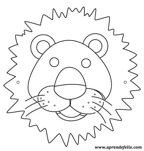 Careta de león gratis para imprimir - recortar - colorear y pintar - disfraces divertidos