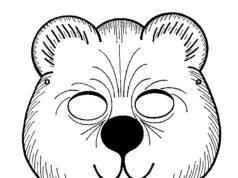Careta de oso para recortar y colorear