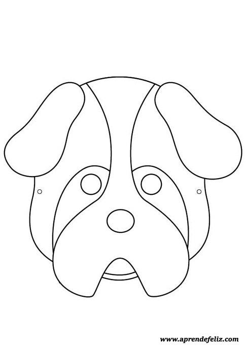 Careta de perro gratis para imprimir - recortar - colorear y pintar - disfraces divertidos