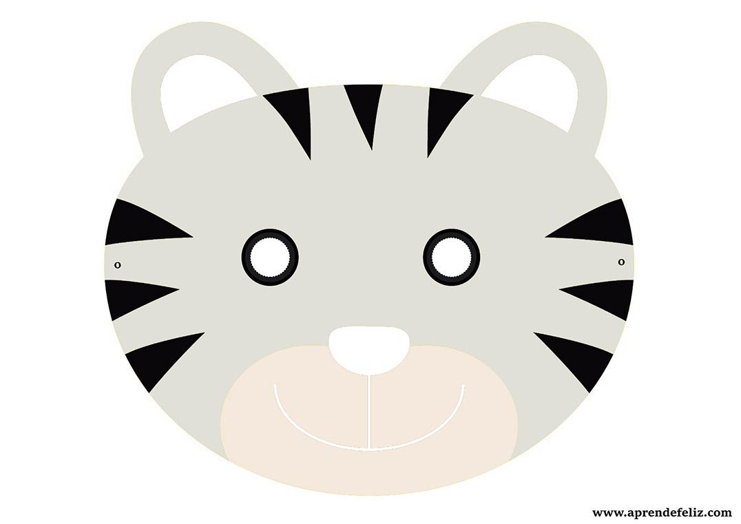 Caretas Infantiles Gratis Para Pintar Y Recortar Careta De Tigre