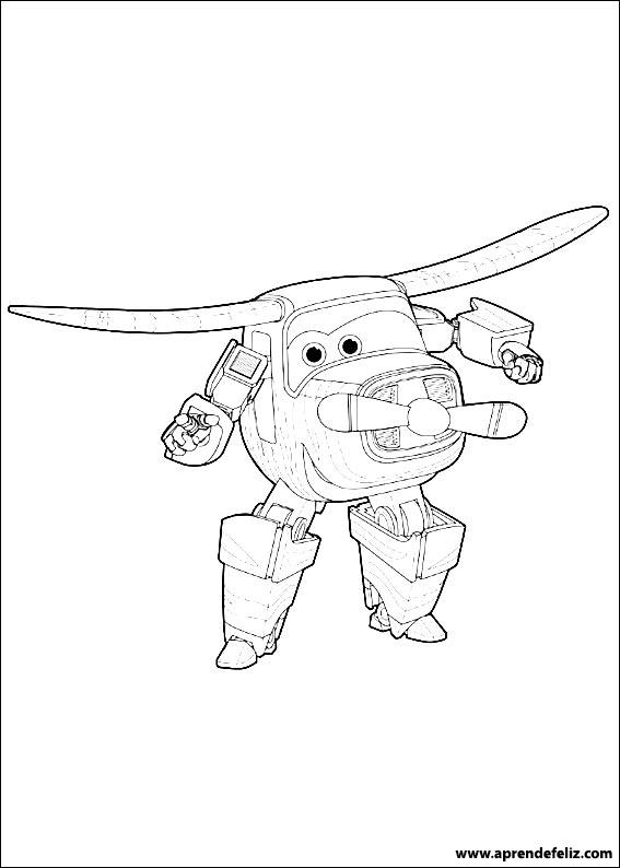 Divertido dibujo de Super Wings para imprimir y colorear