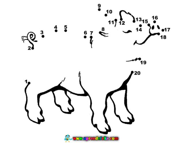 Dibuja un simpático cerdito uniendo los puntos y aprende a contar hasta el número 20