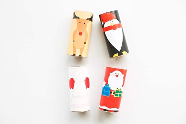 Instrucciones para crear personajes navideños con rollos de cartón