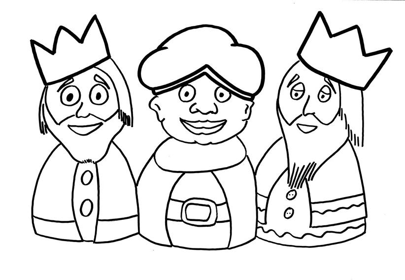 Dibujo De Los Reyes Magos Para Pintar Y Colorear Gratis Aprende Feliz