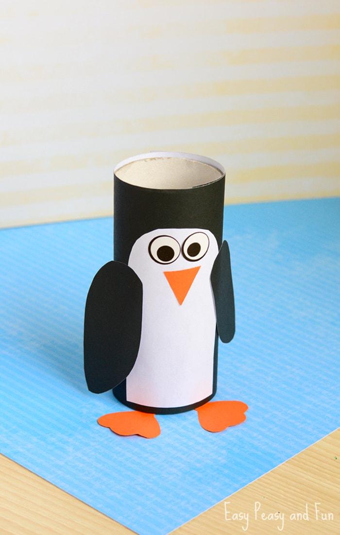 Hacer pinguinos con rollos de cartón