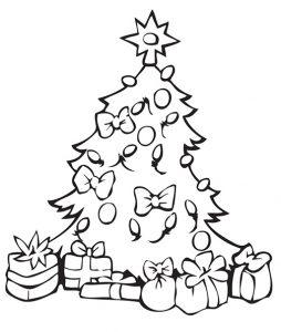 Imagen de Arbol de Navidad con regalos para imprimir y colorear gratis