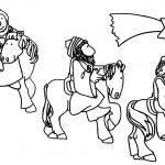 Los Reyes Magos montados a caballo siguiendo la estrella de Oriente para imprimir y pintar