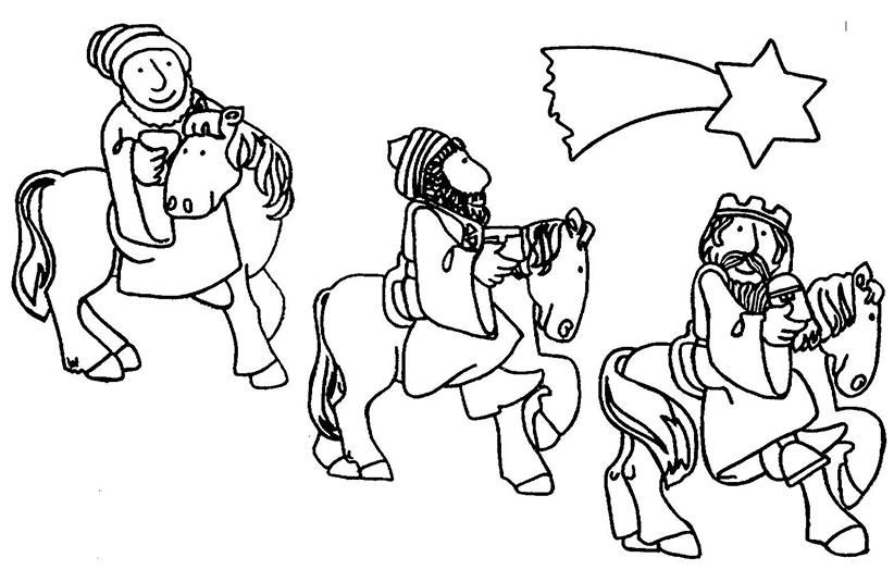 Los Reyes Magos Montados A Caballo Siguiendo La Estrella De Oriente