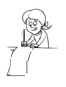 Niña escribiendo la carta a los Reyes Magos para pintar y colorear