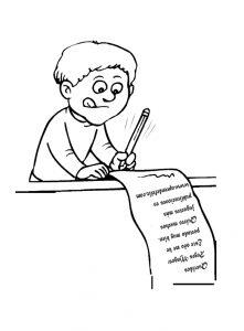 Niño escribiendo la carta a los Reyes Magos para pintar y colorear