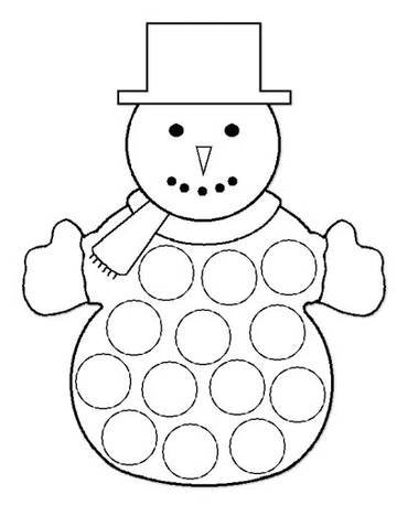 Plantilla para hacer muñecos de nieve de algodón 2