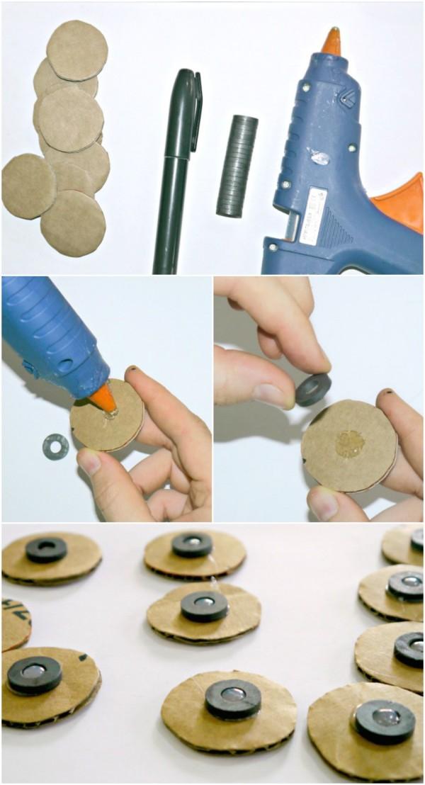 Materiales necesarios para crear juego de las 3 en raya en la nevera