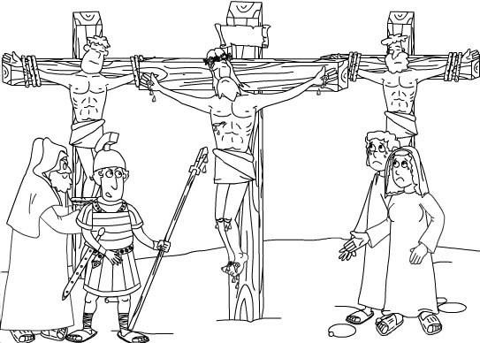 Colorea dibujos de Semana Santa - Le clavan una lanza a Jesús