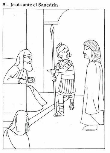 Colorea dibujos de Semana Santa de Jesús ante el Sanedrín
