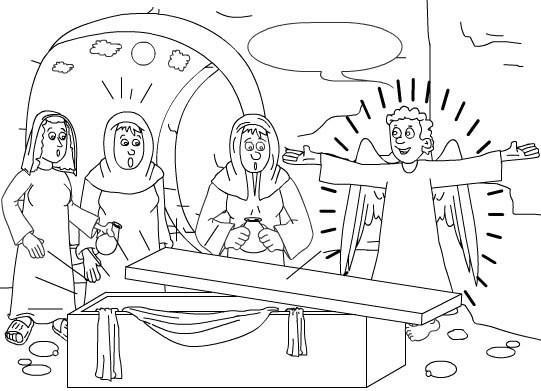 Colorea y pinta dibujos de Semana Santa - Jesús resucita y se encuentran el sepulcro vacío