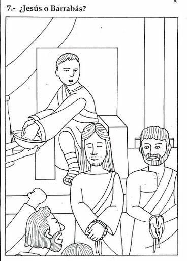 Condenan a Jesús y liberan a Barrabás de la cruz - No hace falta dibujar, listo para colorear y pintar