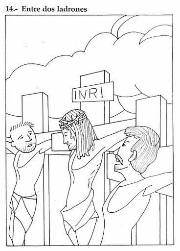 Descarga gratis, imprimi y colorea el dibujo de Jesús crucificado entre dos ladrones