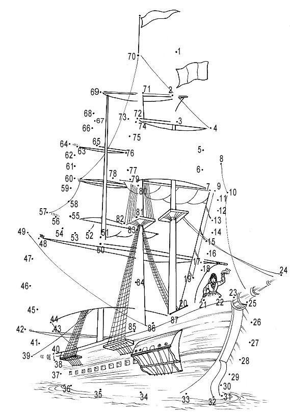 Dibuja barcos y piratas uniendo los números