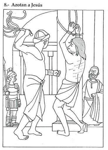 Dibujo de Semana Santa para colorear donde azotan a Jesús como castigo