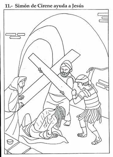 Dibujo de Simón de Cirene ayudando a Jesús con la cruz - Dibujo para colorear los niños y niñas