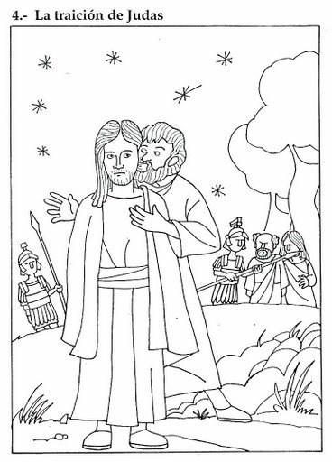 Dibujo de la traición de Judas para imprimir, pintar y colorear