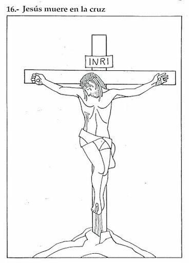 Dibujos de Semana Santa para colorear los niños - Jesús muere en la cruz