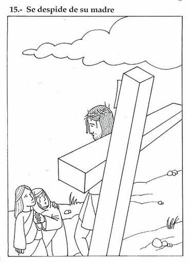 Imprime y colorea a Jesús despidiéndose de su madre