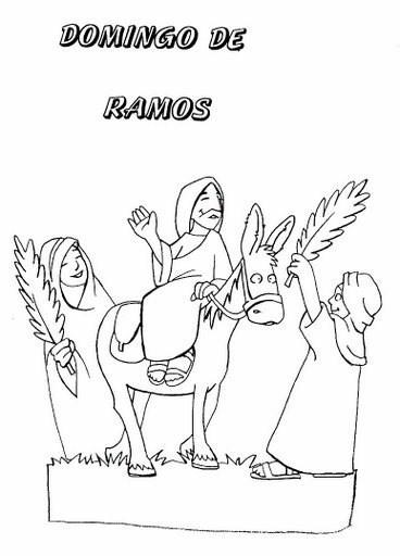 Imprimir dibujos gratis de Semana Santa para colorear - Domingo de Ramos